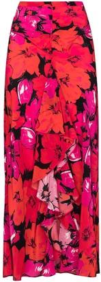Rixo High Waist Floral Silk Skirt