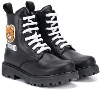 MOSCHINO BAMBINO TEEN Teddy Bear patch ankle boots