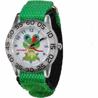 Red Balloon Frog Boys' Plastic Watch, Green Strap