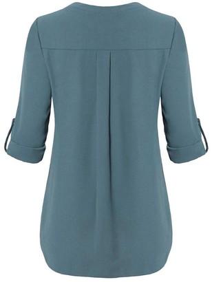 Yebiral YEBIRA Womens Waist Long Sleeve Roll-Up Top Casual V Neck Button Layered Shirt Blouses (M