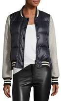 Veronica Beard Lennon Mixed-Media Puffer Bomber Jacket