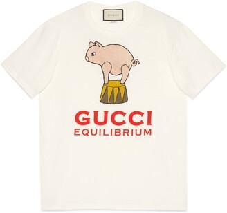 Gucci Piglet patch oversize T-shirt