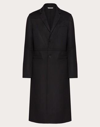 Valentino Vlogo Signature Coat Man Black Virgin Wool 90%, Cashmere 10% 44
