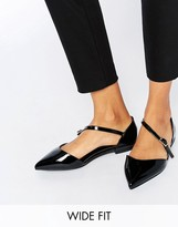Asos LEAD THE WAY Wide Fit Pointed Ballet Flats
