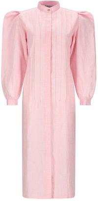 Asneh Pink Rose Linen Shirt Dress With Puff Sleeves