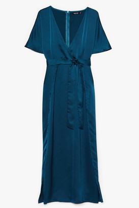 Nasty Gal Womens Plus Wrap Plunge Satin S/S Maxi Dress - Teal