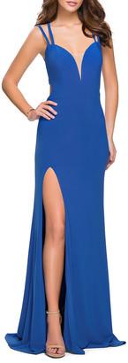 La Femme Strappy Matte Jersey Column Gown