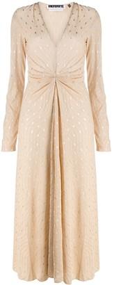 Rotate by Birger Christensen Sierra metallic-print plisse dress