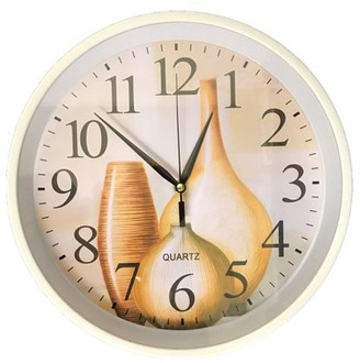 "Creative Motion 12"" Decorative Clock with Vases on the clock face Quite Hand Quartz Movement for any kitchen, shop, home, office."