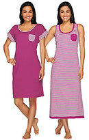 Carole Hochman As Is Garden Side Stripe Tank Maxi & Sleep Shirt Set