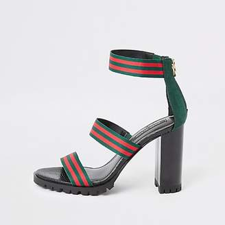 River Island Green stripe triple strap heeled sandal