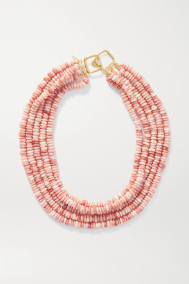 Kenneth Jay Lane Gold-tone And Bead Necklace - Pink