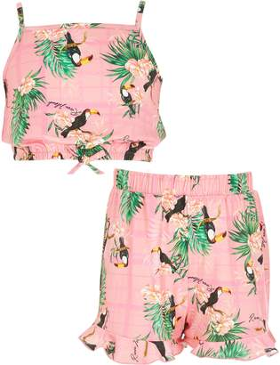 River Island Girls Pink printed cropped cami top outfit