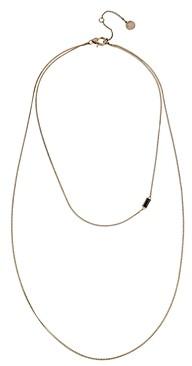 AllSaints Black Baguette Crystal Layered Necklace, 16-18