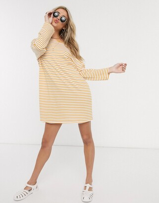 ASOS DESIGN off the shoulder 3/4 sleeve t-shirt dress in yellow stripe