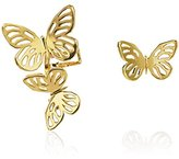 Lara Bohinc Women's 18 ct Yellow Gold Plated Sterling Silver Butterfly Small Ear Cuff and Stud Earring