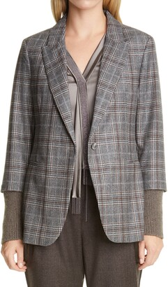 Fabiana Filippi Plaid Ribbed Cuff Wool & Cashmere Blazer