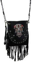 Zeckos Western Style Embellished Sugar Skull Stud Fringe Crossbody Purse