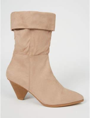 George Beige Suede Effect Cone Heel Cuffed Boots