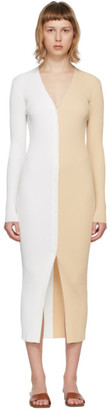 STAUD White and Tan Shoko Cardigan Dress
