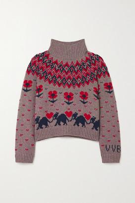 Victoria Victoria Beckham Fair Isle Knitted Turtleneck Sweater - Beige