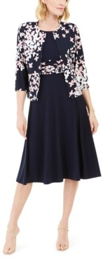 Jessica Howard Petite Floral-Print Fit & Flare Dress And Jacket