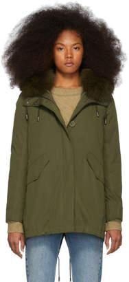 Yves Salomon Army Army Green Down and Fur Bachette Parka
