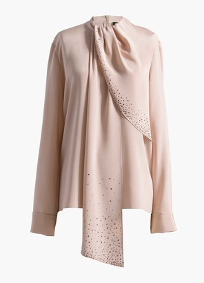 St. John Sequined Drape Neck Scarf Blouse