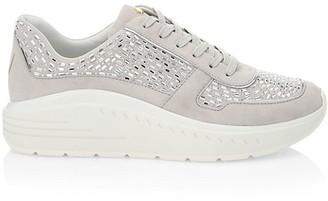 Stuart Weitzman Christa Embellished Platform Leather Sneakers