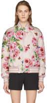 Dolce & Gabbana - Blouson aviateur surdimensionné matelassé fleuri rose