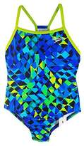 Speedo Big Girls' Youth Solid Splice Back One-Piece Swimsuit