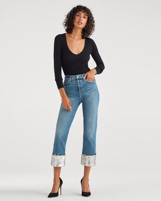 7 For All Mankind Luxe Vintage Sequin Boyfriend Jean in Muse