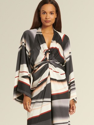 DKNY Donna Karan Women's Printed Dress With Waist Tie - Digital Stripe - Size 10