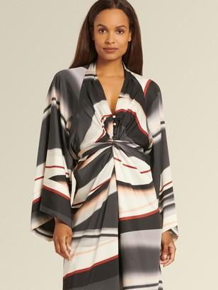 DKNY Donna Karan Women's Printed Dress With Waist Tie - Digital Stripe - Size 16