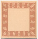 Couristan Recife Tropics Rug In Natural-Terra-Cotta - 8 Foot 6 Inch Square