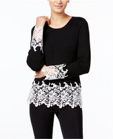 INC International Concepts Petite Crochet-Trim Sweater, Only at Macy's