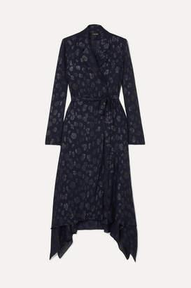 Cushnie Belted Fil Coupé Chiffon Jacket - Navy