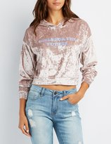 Charlotte Russe Velvet Graphic Cropped Hoodie