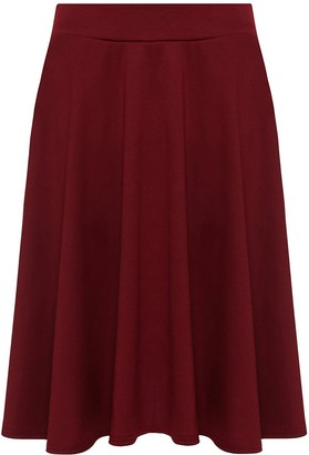 Candid Styles Womens Plain Knee Length Ladies Soft Stretch Flared Skater Midi Skirt Plus Size
