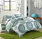 Chic Home 8 Piece Barcelona Printed Medallion Reversible Geometric Backing Bed in a Bag Comforter Set with Sheet, Full/Queen, Green