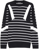 Neil Barrett Abstract Midnight Blue Striped Wool Jumper