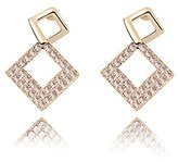 Miki&Co Golden Swarovski Elements Women's Crystal Diamond square Earrings, with a Gift Box