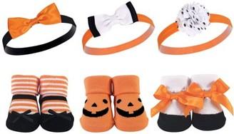 Hudson Baby Newborn Girl Headband & Socks Gift Set, 6pc