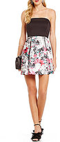 Teeze Me Strapless Abstract Floral Print Skater Dress