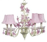 The Well Appointed House Pink and Green Crystal Flower Five Arm Chandelier with Pink Glass Bead Chandelier Shades