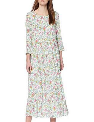 Rich & Royal rich&royal Women's Printed Midi Dress (White 0), 8 (Herstellergröße: 34)