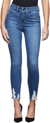 Good American Good Legs High Waist Chewed Hem Ankle Skinny Jeans