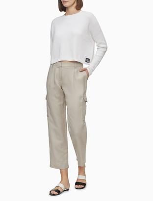 Calvin Klein Linen Blend Cargo Cropped Pants