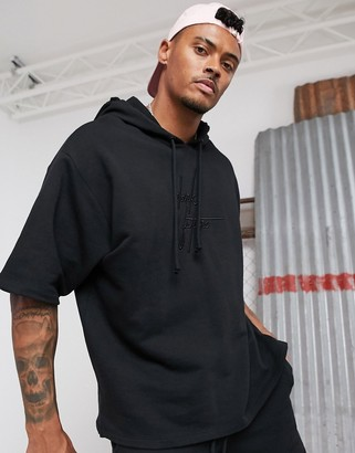 ASOS Dark Future two-piece oversized short sleeve hoodie in black with 3D embroidered logo