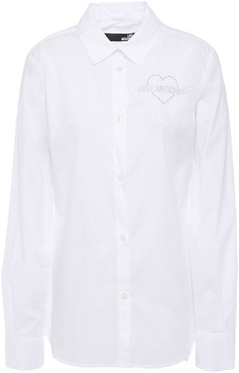 Love Moschino Crystal-embellished Stretch-cotton Poplin Shirt